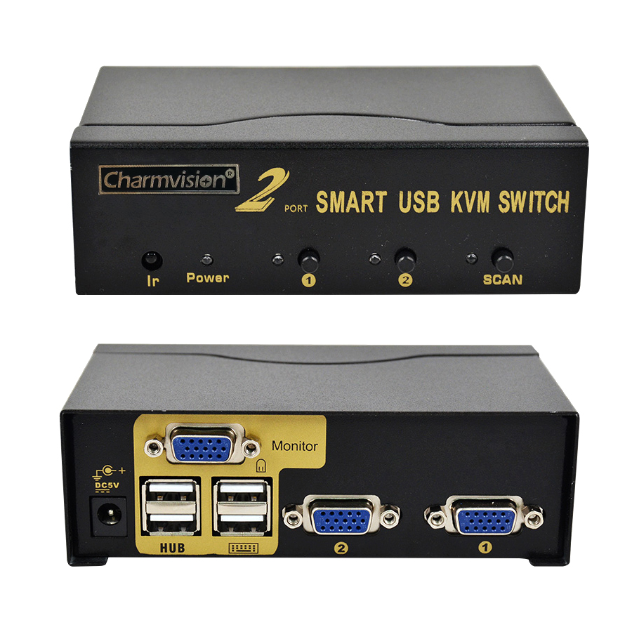 Charmvision UK201R 2 Posts PC Hosts Input 4 USB2.0 HUB Output KVM Switch With Remote Control Original Cable Mini Auto Switcher