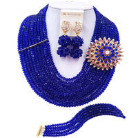 ACZUV Royal Blue African Beads Jewelry Set 10C DS002