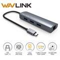 Wavlink USB 3.0 Hub Ethernet Adapter High-Speed 3 Port Aluminum Type C USB Hub RJ45 Network Card Lan Adapter typeC for Macbook