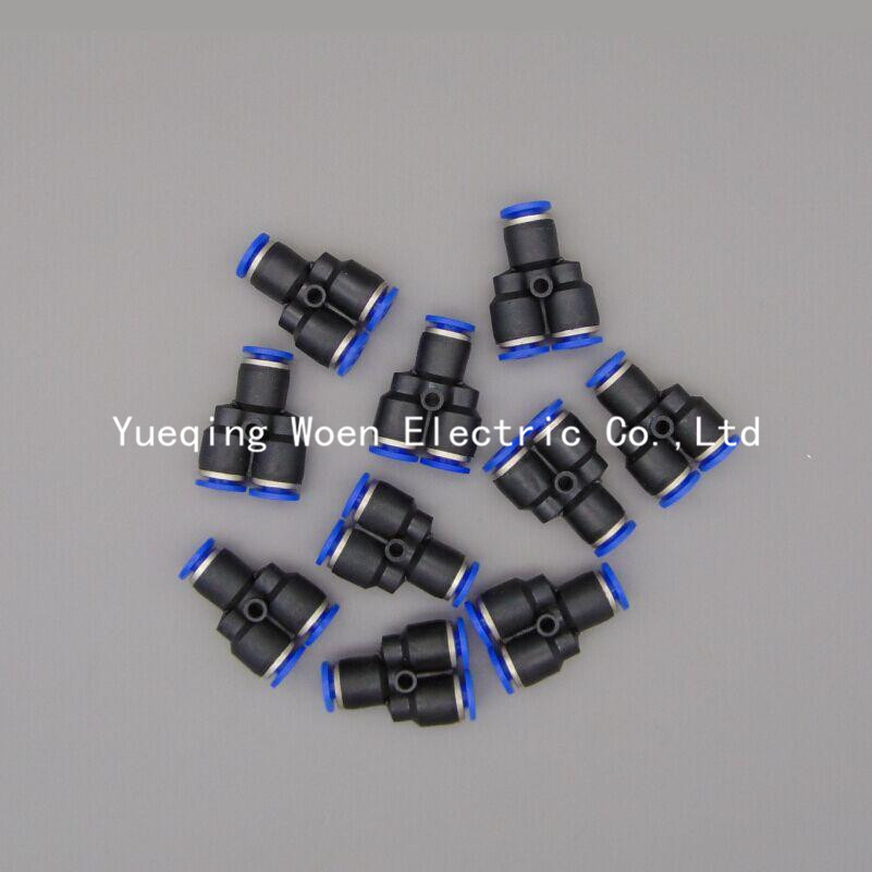 PY6 Pneumatic 6MM Tube Push in Connector Y Union , PY-6 One Touch Air Quick Fitting PY1/4 8mm tube to 8mm tube plastic pipe coupler straight push in connector fittings quick fitting