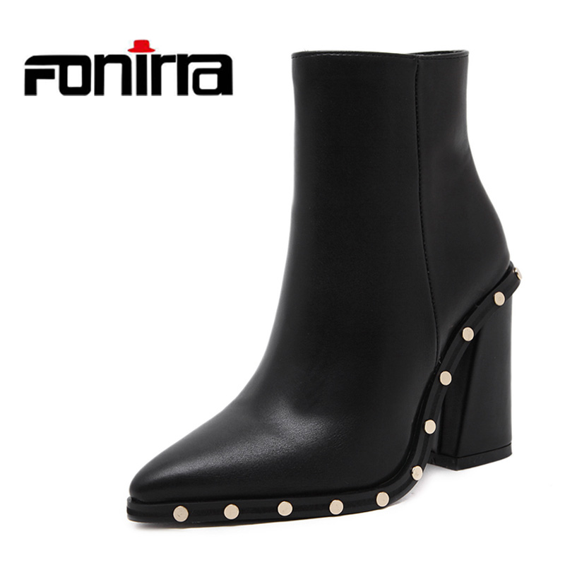 FONIRRA New Autumn Winter Women Ankle Boots Chelsea Boots Shoes For Woman High Heels Rivets Pointed Toe Sexy Snow Boots 659 enmayla autumn winter chelsea ankle boots for women faux suede square toe high heels shoes woman chunky heels boots khaki black