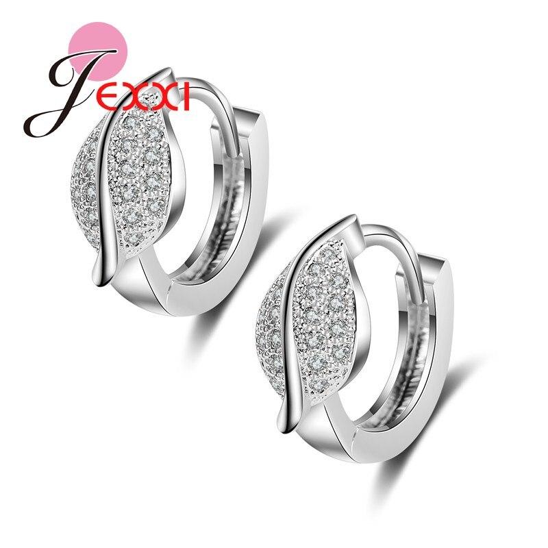 8054b44ab322 Patico Venta caliente hoja de cristal earing moda orejera chaqueta bijoux  Pendientes de Aro para las mujeres joyería de plata brincos Mujer