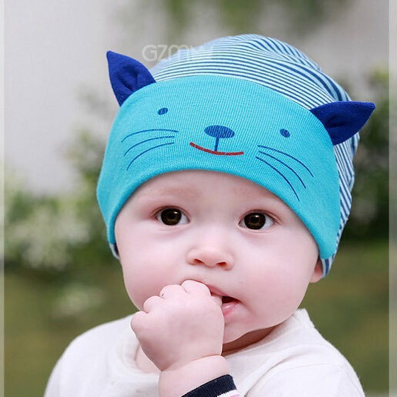 2017 winter cute newborn baby boy infant stripe beanies cotton baby caps lovely cat beanies infant hats in hats caps from mother kids on aliexpress com