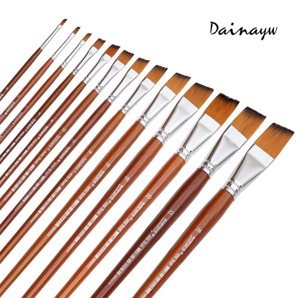 13Pcs Long Handle Nylon Hair Paint Brush Gouache Watercolor Brush Oil Painting Acrylics Brush For Art Supplies