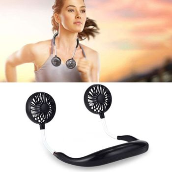 4 colors usb rechargeable 3 gears portable wearable neck fan hands-free