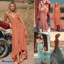 Summer Polka Dot Strap Dresses 2019 New Women Summer Casual Sleeveless V-Neck Loose Long Polka Dot Maxi Dress недорого