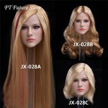 цена на JX-028A/B/C 1/6 Scale Female Head Carved Singer Avril Pale Skin Head Sculpt Model for 12