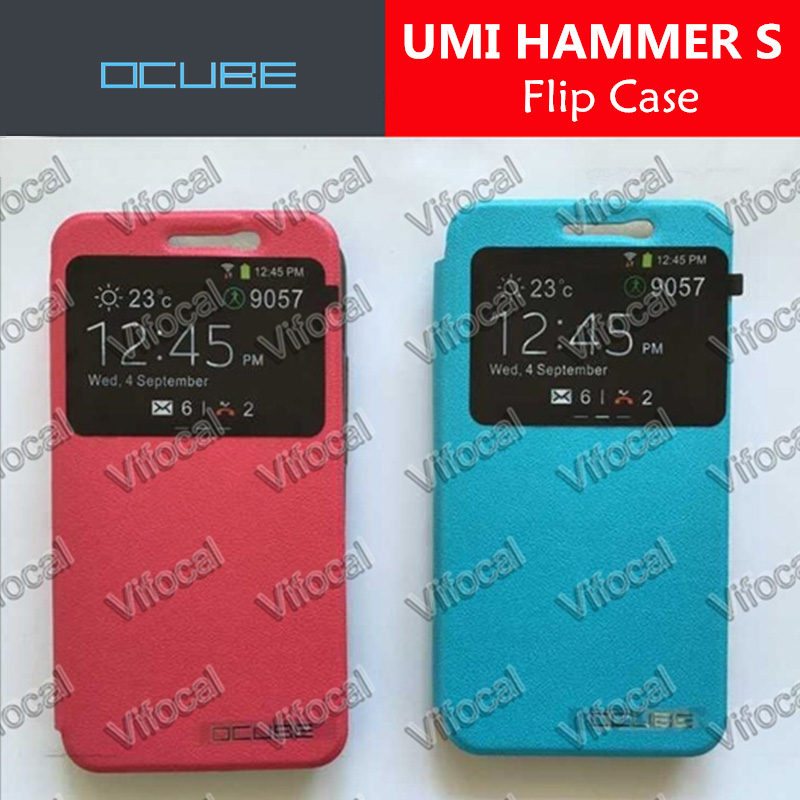 ocube UMI HAMMER S case 5.5inch 100% New With Window Protector Leather Case Flip Cover For Hummer S Phone + Free Ship