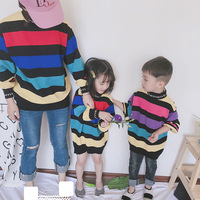 Newest Family Matching Outfits Mother Girls Son Knit Rainbow Striped Sweater Fashion Clothes Mommy And Me Pollover Clothing