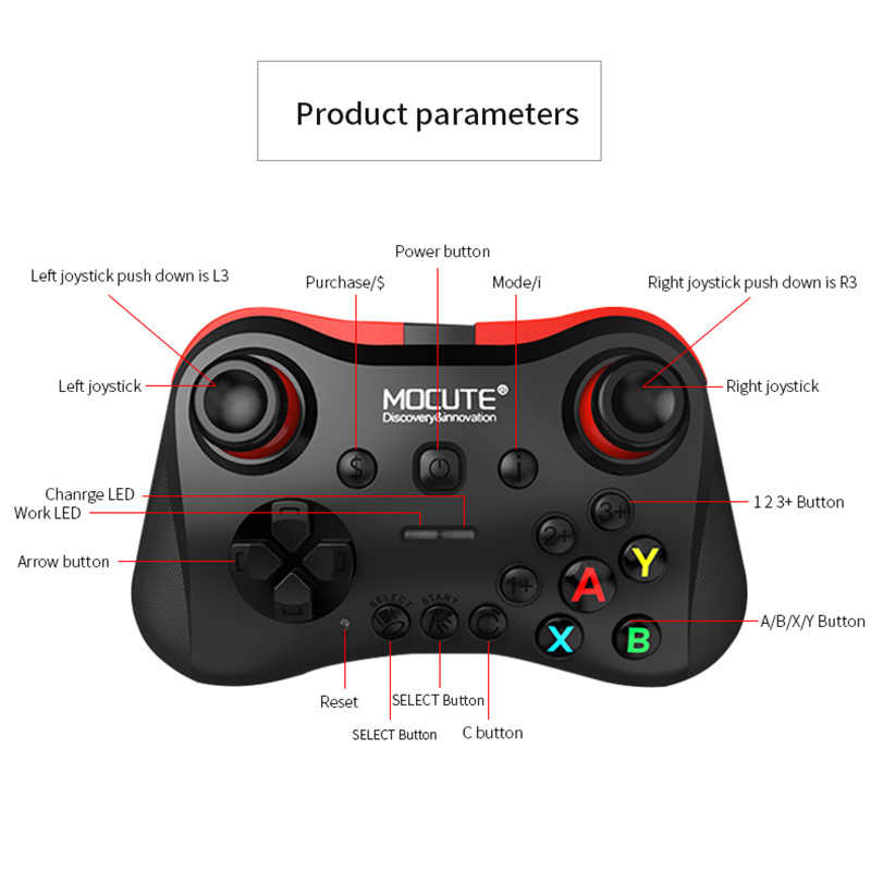 Mocute 054 056 Bluetooth геймпад Android VR ручка дистанционного Управление PUGB L1 R1 мобильный джойстик для сотовый телефон, ПК Smart ТВ коробка