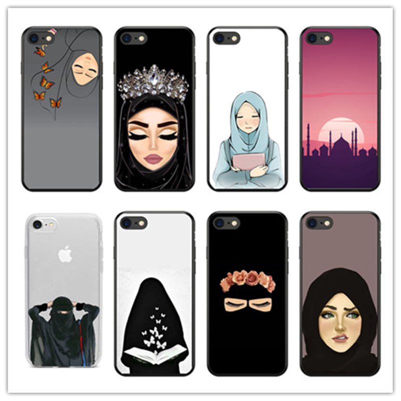Muslim Islamic Gril Eyes Arabic Hijab Girl Phone Case Cover For Iphone X 8 8plus 7 7plus 6 6s Plus 5 5s Se Black Protector Shell Less Expensive Fitted Cases Phone Bags & Cases