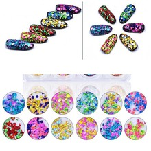 12jar/set Nail Sequins Glitter Flake Mixed Style Laser Sequin Paillettes Sparkles Colorful Flakes For PT52