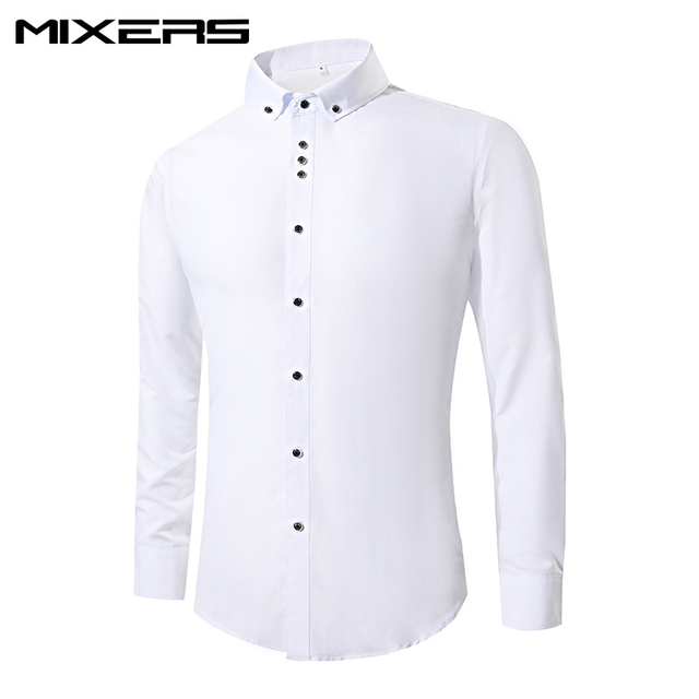 a9e9fe1947f2 2018 Brand Men s White Wedding Shirts Slim Fit Formal Dress Shirts Men Long  Sleeve Design Cotton