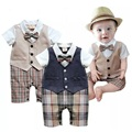2017 Summer Baby Boys Clothes Tuxedo Rompers Shortall Baby Jumpsuit Costumes Bebe Clothing One-Piece Vest Boties Body Suit Grid