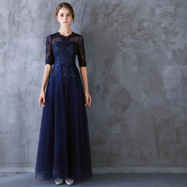 2a28b5c23d O-Neck Chiffon And Lace Royal Blue Party Dresses A-Line And Half Sleeve  Embroidery Plus Size Party Dress Lace Up Onepiece 0119A
