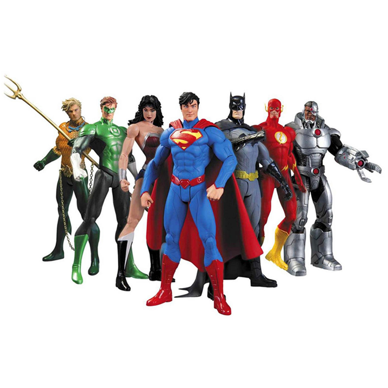 DC Comics Superheroes Toys 7pcs/set Superman Batman Wonder Woman The Flash Green Lantern Aquaman Cyborg PVC Figures Brinquedos полотенца lego пончо dc superheroes
