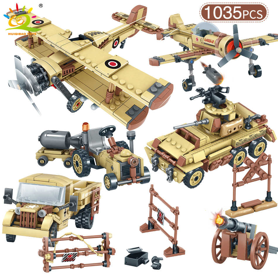 4in1 WW2 Military SWAT Solider Plane Model Building Blocks Legoing Tank Truck Special Forces Figures Car Bricks Toy For Children