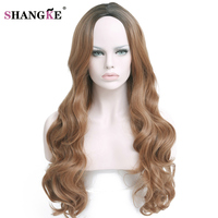 SHANGKE Hair 28 330g Long Ombre Blonde Synthetic Wigs For Black White Women Natural Dark Blonde