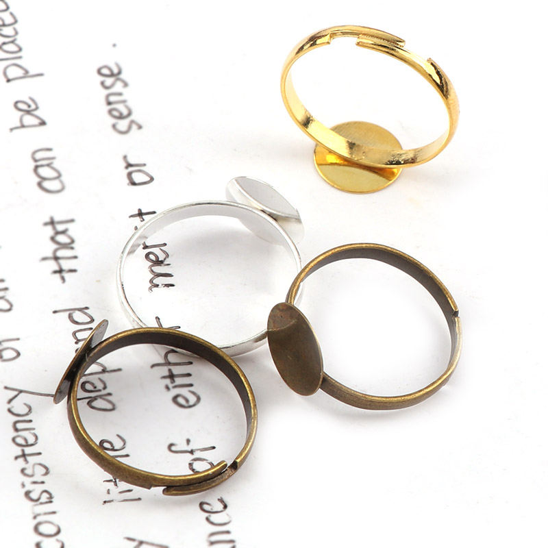 10mm Fashion Adjustable Ring Flat Pad bezel Embellishments Cabochon Bases Setting Blanks DIY Ring Jewelry Supplies Finding