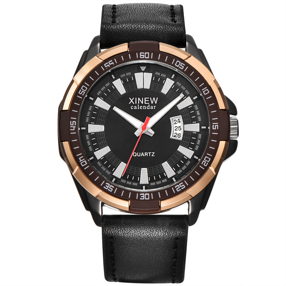 XINEW Brand Luxury Men's Aviator White Automatic Mechanical Date Day Leather Wrist Watch Montre Men's Business Watches#77 original binger mans automatic mechanical wrist watch date display watch self wind steel with gold wheel watches new luxury