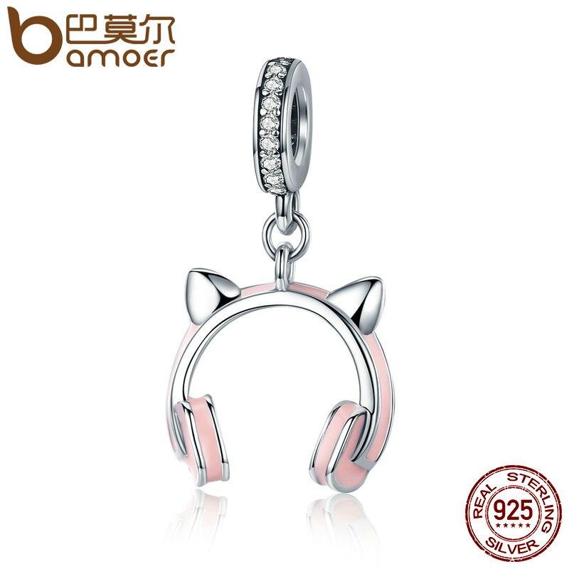 BAMOER New Arrival 925 Sterling Silver Cat Ear Earphone Dangle Pendant Charm fit Women Charm Bracelet DIY Beads Jewelry SCC441 цена