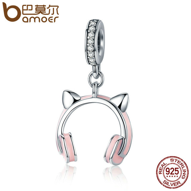BAMOER Nuovo Arrivo 925 Sterling Silver Cat Ear Ciondola Pendente di Fascino fit