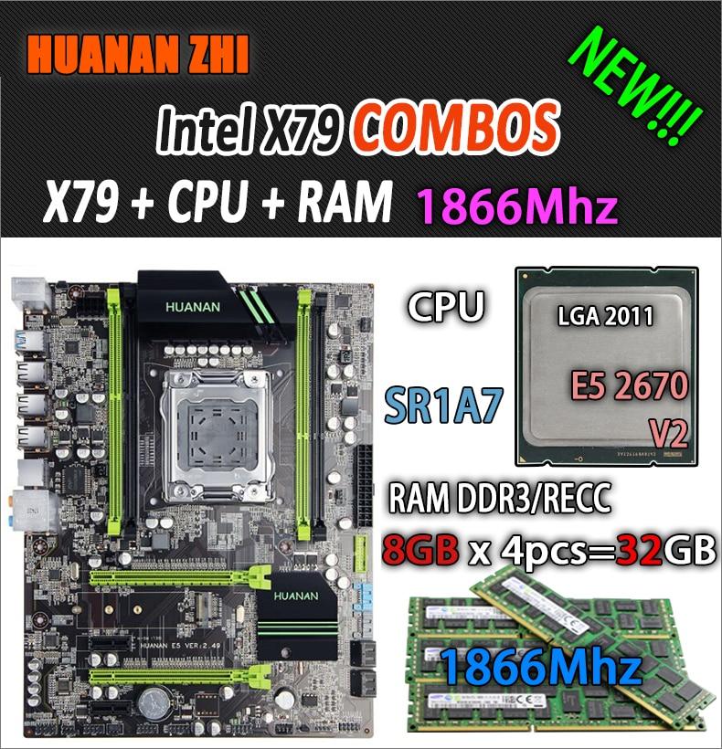 HUANAN ZHI V2.49 X79 scheda madre LGA2011 ATX combo E5 2670 V2 SR1A7 4x8G 32 GB 1866 Mhz USB3.0 SATA3 PCI-E NVME M.2 SSDHUANAN ZHI V2.49 X79 scheda madre LGA2011 ATX combo E5 2670 V2 SR1A7 4x8G 32 GB 1866 Mhz USB3.0 SATA3 PCI-E NVME M.2 SSD