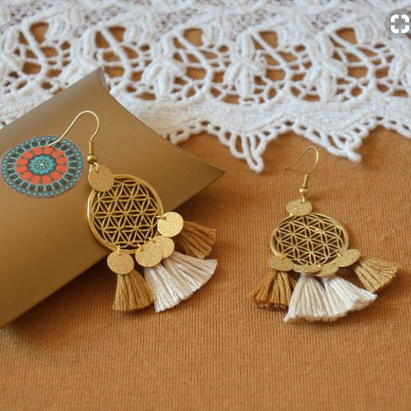 Golden Round Sequins Bohemian Etnisk Uttalning Tassel Drop Earrings For Women Dam Fashion 2018 Boho Vintage Wedding Earrings