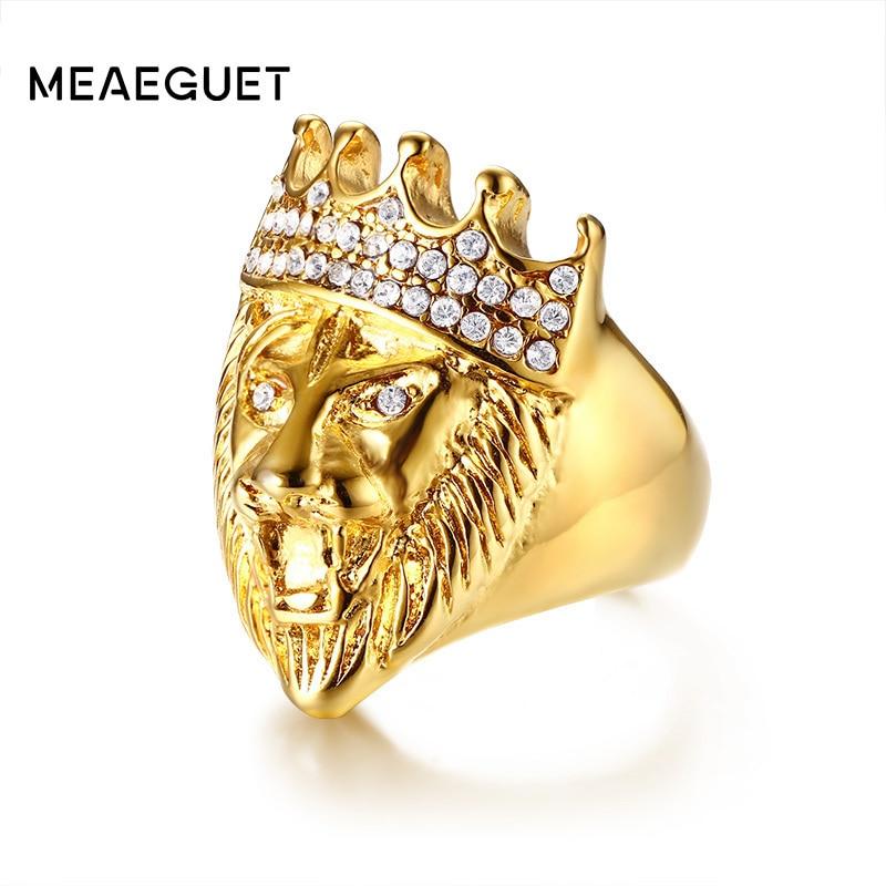 Best buy ) }}Crystal Crown Stainless Steel Lion Men Ring Gold