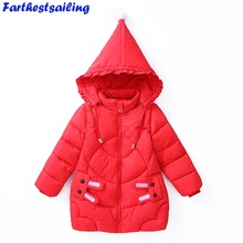 Winter Jacket for Girls 2018 New Autumn Kids Parkas Down Cotton Jackets Fashion Coats Thickening Hooded Warm Clothes