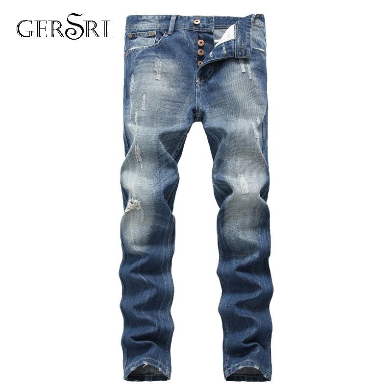 Gersri  Men's Pleated Biker Jeans Pants Slim Fit Brand Designer Motocycle Denim Trousers For Male Straight Washed Multi Zipper