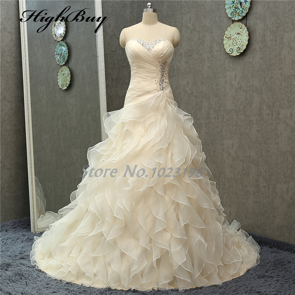 HighBuy Strapless A line Champagne Wedding Dresses Bridal Gowns ...