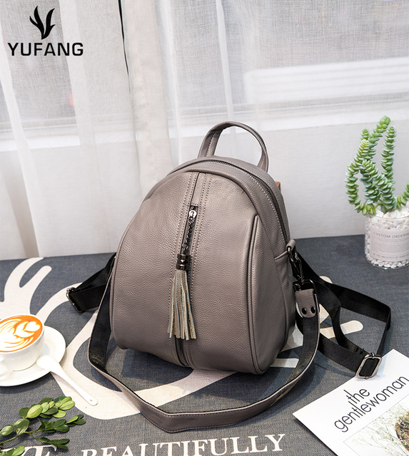YUFANG Bucket Backpack Genuine Leather Womens Backpack Natural Cowhide Shoulder  Bag Women Backpack For School Teenagers Girls 42353c4a9fd60