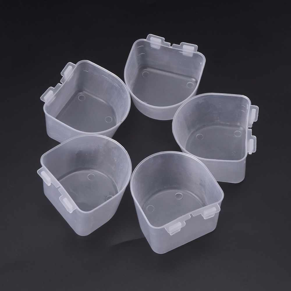 5pcs Plastic Parrot Bird Feeder Hamster Flat Bottom Feeding Cup Hanging Water Drinking Food Bowl Tools Bird Supplies C42