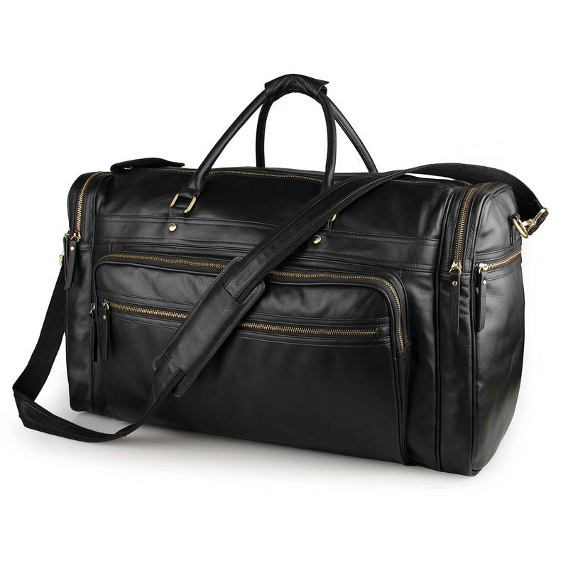 Men's Large Capacity Genuine Leather Travel Bag Black Cow Leather Luggage Bag Nappa Leather Travel Totes Fashion Casual Bag travel luggage bag tri glide button black 10 piece pack