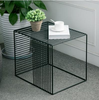 Iron edge a few fashionable minimalist modern coffee table sofa corner creative American small square table metal side table .