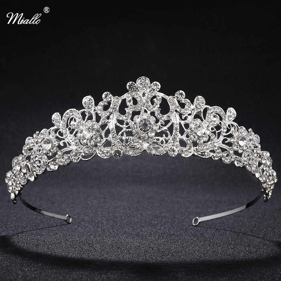 Miallo Vintage Wedding Tiaras Crowns for Bridal Rhinestones Crystal Hair  Accessories Jewelry Sparkling Princess Queen Pageant 5e8532909ba2