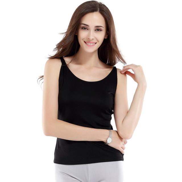 100% de Punto de Seda Camisola Mujeres Cómodo Tank Top Mujeres de la Ropa Interior de Color Liso de Seda Fina Strape Estilo Nueva Moda