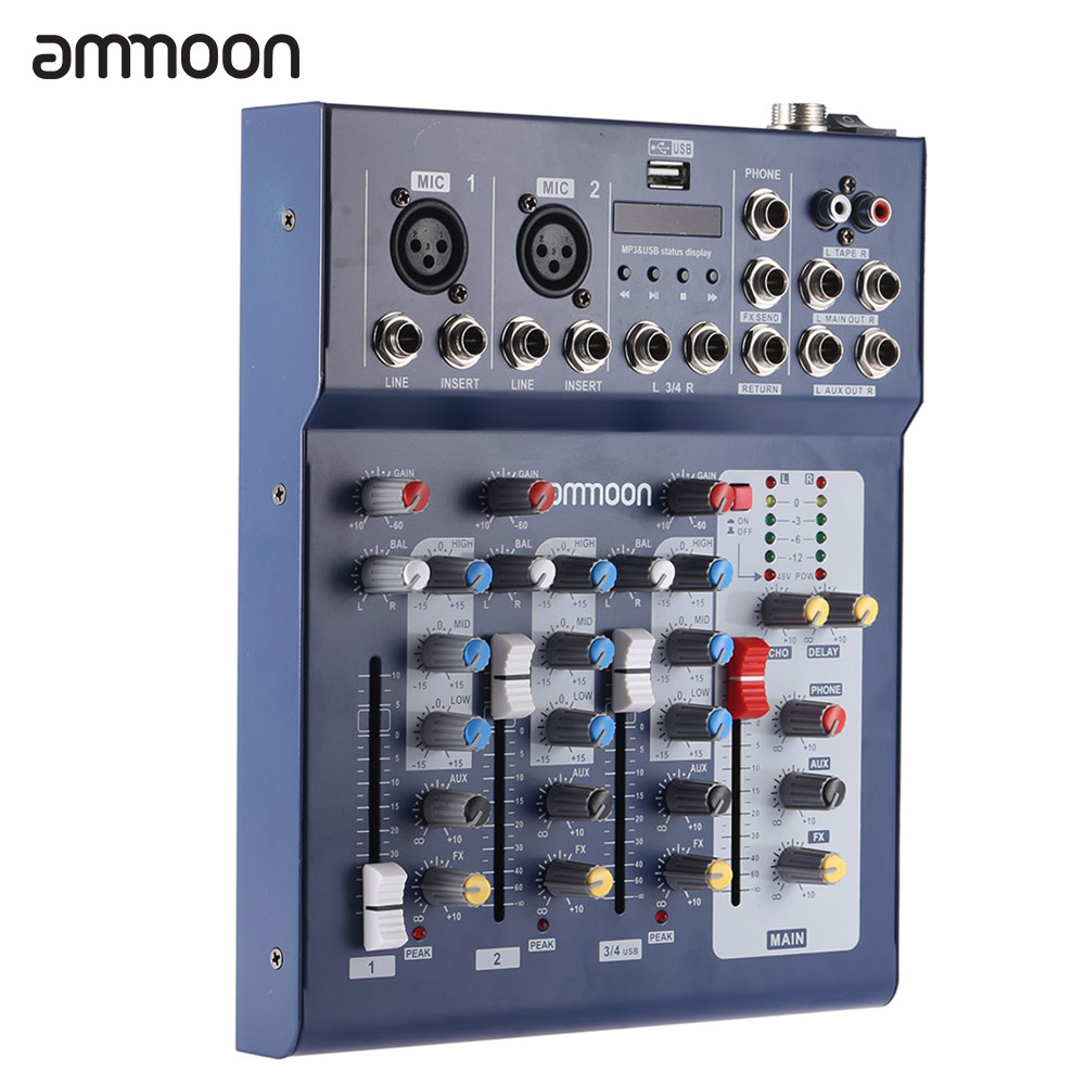 ammoon F4 USB Mixing Console 3 Channel Digital Mic Line Audio Mixer Console with 48V Phantom