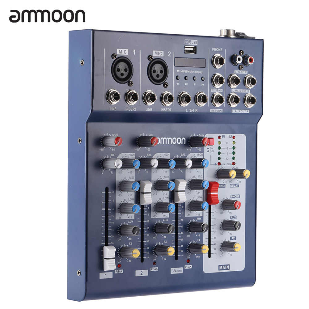 ammoon F4-USB Mixing Console 3 Channel Digital Mic Line Audio Mixer Console with 48V Phantom Power for Recording DJ Stage