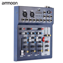 ammoon F4-USB Mixing Console 3 Channel Digital Mic Line Audio Mixer Console with 48V Phantom Power for Recording DJ Stage(China)