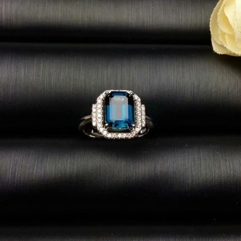 Natural London Blue Topstone Ring 7 * 9mm Rectangular Gem 925 Pure Silver Dike Exquisite Jewelry