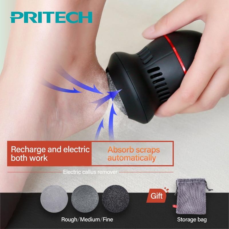 Pritech Hot Strumento di Cura Del Piede USB di Ricarica di Rimozione Del Callo Potente Pedicure Callo Piedi di Rimozione Cleaner Con Tre Diamanti Teste