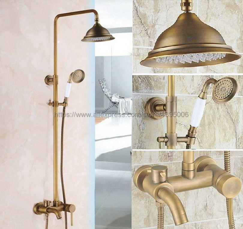 Antique Brass Bathroom Rainfall Shower Faucet Set Mixer Tap With Hand Sprayer Wall Mounted Bath Tub Mixer Tap Brs182 цена 2017