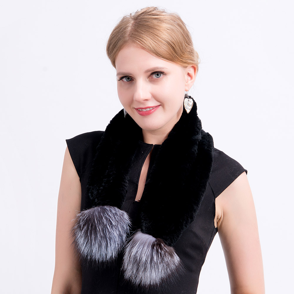 Rex rabbit fur hat scarves pompom  (29)