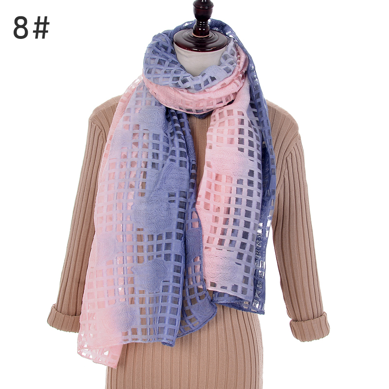10 pc  women fashion Gradient color silk scarves shawls female wraps Hollow pashmina Plaid Embroidery Hijab Scarf stole