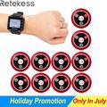 Retekess 433 MHz Draadloos Oproepsysteem Ober Call Pager Horloge Ontvanger T128 + 10 pcs Belknop T117 Restaurant Apparatuur