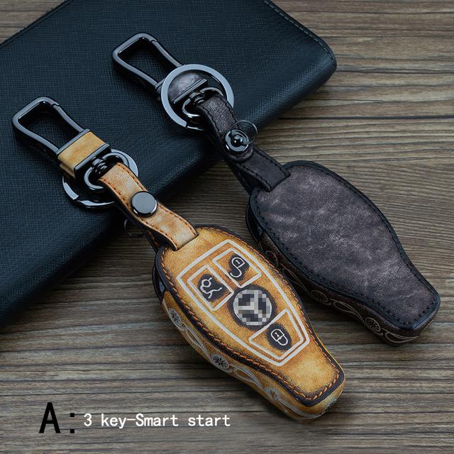 Genuine Leather CAR KEY CASE Automóvil Uso de propósito Especial Del Coche Titular de la Clave Para BENZ