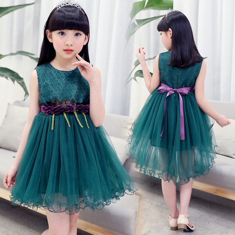 2018 New Fashion Summer Girls Dress Lace Flower Girl Princess Dresses Kids Party Wedding Prom Gradution Gowns Children Clothing new fashion embroidery flower big girls princess dress summer kids dresses for wedding and party baby girl lace dress cute bow