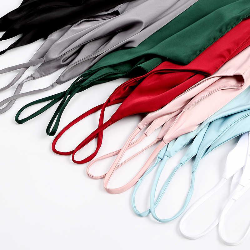 Spaghetti sangle haut femmes licou col en V basique blanc Cami sans manches Satin soie débardeur hauts femmes été 2020 Camisole grande taille